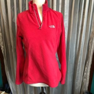 The North Face Red Fleece 1/4 Zip Pullover Jacket